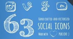 63 SOCIAL ICONS More hand-drawn goodness, this time in the form of 60+ social icons. This set comes in EPS, PDF, and SVG file formats and can be used without credit.