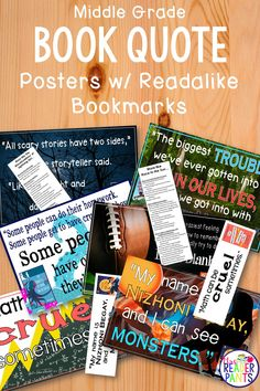 Jazz up your library or classroom walls with these colorful Book Quote Posters! Six middle grade book titles each include a quotation poster and a coordinating, double-sided read-alike bookmark. The read-alike titles are all editable. Library Lesson Plans, Library Skills, Library Posters, Quote Posters, Reading Incentives, Library Activities, School Librarian, Classroom Walls, Library Displays