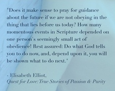 Do what God tells you to do now, depend upon it, you will be shown what to do next...