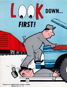5 darkly comical railroad safety posters from the 60's