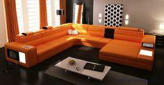 Divani Casa Polaris - Contemporary Leather Sectional Sofa With Lights - Sofas - Living Room Orange Leather Sofas, Real Leather Sofas, Leather Sectional Sofas, Modern Sectional, Sectional Couches, Curved Sectional, Orange Sofa Design, Sofa Furniture, Living Room Furniture