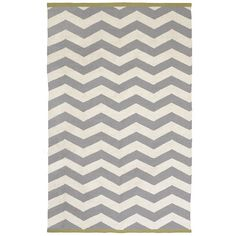Zigzag Rug with chartreuse edges