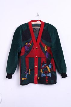Torras Womens 46 XXL Vintage Jacket Jumper Dark Green Wool Gold Buttons - RetrospectClothes