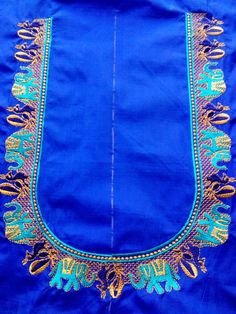 Hand Embroidery Flowers, Embroidery Works, Embroidery Designs, Aari Embroidery, Machine Embroidery, New Blouse Designs, Pattu Saree Blouse Designs, Bridal Blouse Designs, Neckline Designs