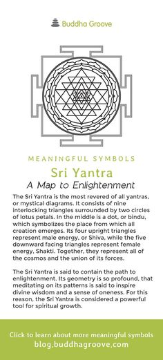 Meaningful Symbols – A Guide to Sacred Imagery - Sri Yantra - a Map to Enlightenment Sacred Geometry Meanings, Sacred Geometry Patterns, Sacred Geometry Tattoo, Sacred Symbols, Sacred Art, Buddhist Symbols, Spiritual Symbols, Shri Yantra, Spiritus