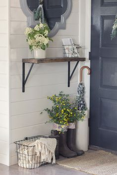 I like this idea for outside the back door, wreath or picture instead of mirror.