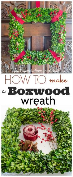 How to make a Christmas wreath using boxwood {tutorial}. You can find this wreath @Wayfair.com.com.com -  Four Generations One Roof