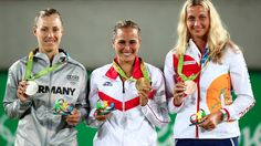 Monica Puig won gold, Angelique Kerber took silver, and Petra Kvitova claimed bronze after defeating Madison Keys 7-5, 2-6, 6-2