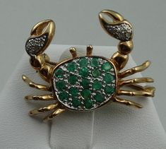 Cute 14k Yellow Gold Crab Pin With Fine by rubylanejewelers
