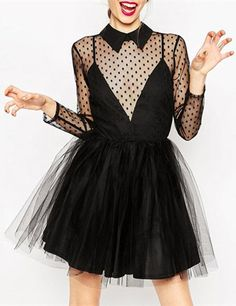 Stylish Women's Long Sleeve Voile See-Through Polka Dot Dress