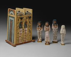 Shabti Box of Paramnekhu with Shabtis  Period: New Kingdom, Ramesside Dynasty: Dynasty 19 Reign: reign of Ramesses II Date: ca. 1279–1213 B.C. Geography: Egypt, Upper Egypt; Thebes, Deir el-Medina, Tomb of Sennedjem (TT 1), Maspero Excavations 1885-1886 Medium: Wood, gesso, paint