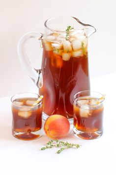 Peach & thyme ice tea sounds completely refreshing right about now #recipe