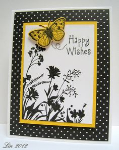PDCC#132 by quilterlin, via Flickr Hero Arts stamp. Black White & Yellow