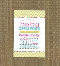 Printable Baby Shower Invitation - Chevron Girls Baby Shower Invitation - pink blue green. $15.00, via Etsy.