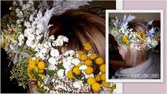 Romantyczny wianek z kwiatów polnych.