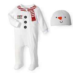 """Koala Kids Boys White Snowman Sleep 'n Play Footie with """"Snow Cool"""" Embroidery, Printed Scarf Neckline and 3D Hat"""