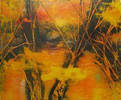 Original 10x12 Yellow Orange Grey Contemporary Abstract