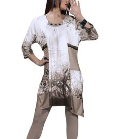 Take a look at this Bronze Tree Print Sidetail Tunic & Leggings Set - Women & Plus by Love The Queen on #zulily today!