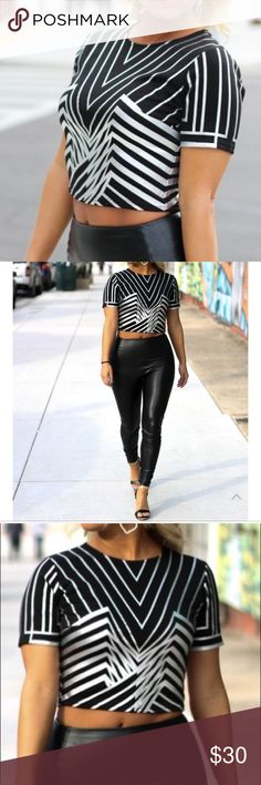 Striped Crop Top Slay all day like Beyonce in this silver striped crop. Featuring an all over silver art deco pattern and full length zipper in the back. Tops Crop Tops