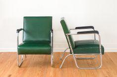 Pair of Art Deco Chrome and Naugahyde Club Chairs
