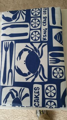 Vinyl Flannel Back Crab Seafood Tablecloths 4 sizes  2 Styles #ElreneHome