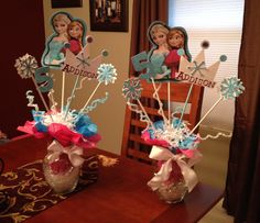 Disney Frozen center pieces ..I made for my daughters birthday!