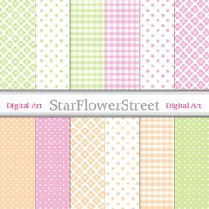 Green and Pink Digital Paper girl flower pattern peach gingham polka dot scrapbooking DIY baby shower Instant Download printable scrapbook by StarFlowerStreetDA