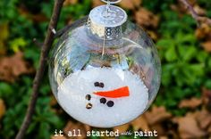 Cute Melted Snowman Ornament #12daysofChristmas Linky Party at www.shanty-2-chic.com