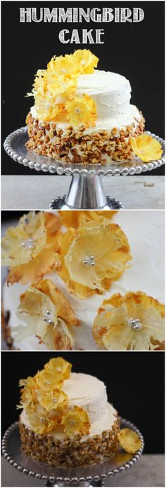 A Stunning Hummingbird Cake filled with pineapple chunks, banana, and walnuts then covered in Pineapple Frosting and decorated with dried Pineapple Flowers! It's beautiful!
