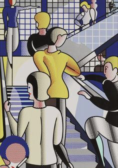 """Roy #Lichtenstein (American, 1923–1997) Bauhaus Stairway Date:    1988 Medium:    Oil and synthetic polymer paint on canvas Dimensions:    7' 10"""" x 66"""" (238.8 x 167.7 cm)"""