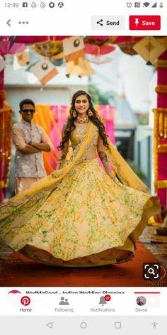 Some Amazing Lehenga Color Which We Love This Season :- Wanderlust Fashion . Floral Lehenga, Yellow Lehenga, Bridal Lehenga Choli, Mehendi Outfits, Indian Outfits, Wedding Outfits, Bollywood Lehenga, Saree, Indian Bridesmaids