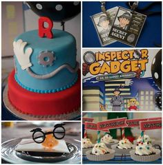 Inspector Gadget themed birthday party with Lots of Fun Ideas via Kara's Party Ideas | Cake, decor, cupcakes, games and more! KarasPartyIdea...