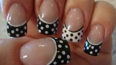 A Bit Dotty - Nail Art Gallery by NAILS Magazine - black and white polka dots tips