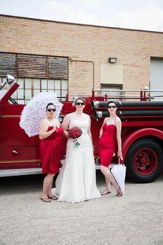 Cool bride and bridesmaids