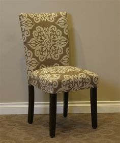 Itaki Parsons Chair in Taupe and Ivory Upholstery