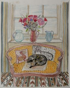Richard Bawden British) loves cats and includes them in most of his works. Domestic and garden scenes where cats are usually seen are his Illustrations, Illustration Art, Shark Art, Photo Chat, Watercolor Cat, Sketchbook Inspiration, Art For Art Sake, Cat Drawing, Kittens