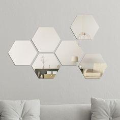 Walplus Minimalist Hexagon Acrylic Wall Mirror Tiles DIY Home Decor (Silver - 6 pieces)