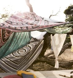 Multiple tapestries = outdoor blanket fort. #urbanoutfitters