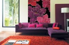 Pink Themed Living Room Ideas Cozy Design With Cute Mural On The White Wall And Purple Fabric Couch Bed Pillow Red Carpet