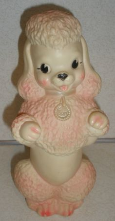 Saw I got this for Christmas in an old Christmas pic! Vintage 1950s SUN RUBBER POODLE Dog Squeaky Doll.