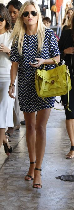 #NYFW Yellow Bag + Geometric Dress