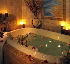 Relaxing Bath - the flower petals are a little much, but I do enjoy a bath by candle light.