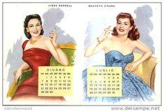 calendario del tipo in uso dai barbieri anno 1954