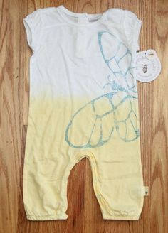 Burt's Bees Baby Girl Non Footed Short Sleeve Coverall ~ White, Yellow & Blue ~ #BurtsBees #Everyday