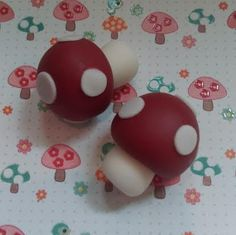 Red and White Fondant Mushrooms  Edible Cake and by SugarArtByTami