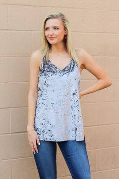 Slick Chick Scalloped Velvet Top - Grey