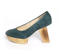 "https://www.cityblis.com/6074/item/8858 | Lady Beatnik Pump Midnight Green - $116 by CHIYO | Midnight green suede pump // PU lining // Padded PU insole // 3.5"" natural wooden heel | #Heels"