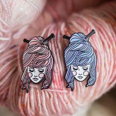 Knitter Girl Enamel Pin