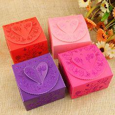 Blommor hjärta Design Favor Boxes - Set av 12 (Fler färger) - NOK kr. 17