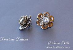 Beaded Earrings  Post Stud Earrings  Czech Rose by ByAllBeads